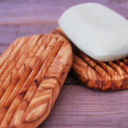 "Soap dish, made of olive wood Beautiful soap dish with water draining holes. Olive wood is water resistant and therefore well suited for humid rooms. guaranteed no waterlogging ca. 13 x 7 cm (5"" x 3"")"